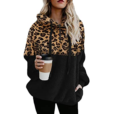 ReachMe Womens Leopard Print Fuzzy Fleece Sweatshirts 1/4 Zipper Sherpa Pullover Hoodie with Pocket at Women's Clothing store