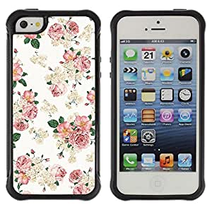 BullDog Case@ Floral Pink Wallpaper White Retro Style Vintage Rugged Hybrid Armor Slim Protection Case Cover Shell For iphone 5S CASE Cover ,iphone 5 5S case,iphone5S plus cover ,Cases for iphone 5 5S