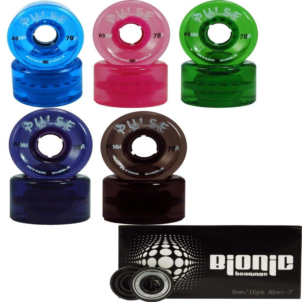 Atom Skates Pulse Outdoor Quad Roller Wheels 78A with Bionic Bearings, Blue, Set of 8, 65mm x 37mm by Atom Skates