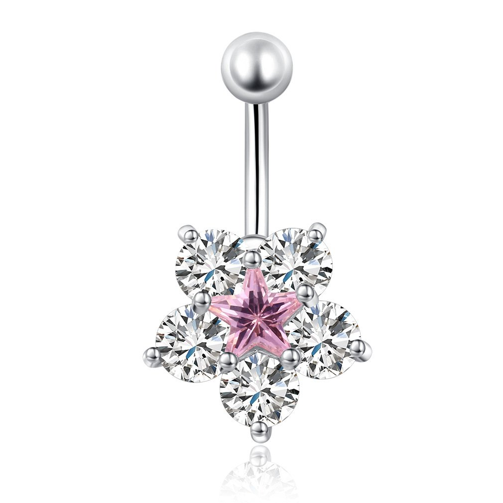 Fashion Women Body Piercing Jewelry 14G Hypoallergenic Stainless Steel Cubic Zirconia Belly Button Ring Navel Rings Flowers Diamond Pink