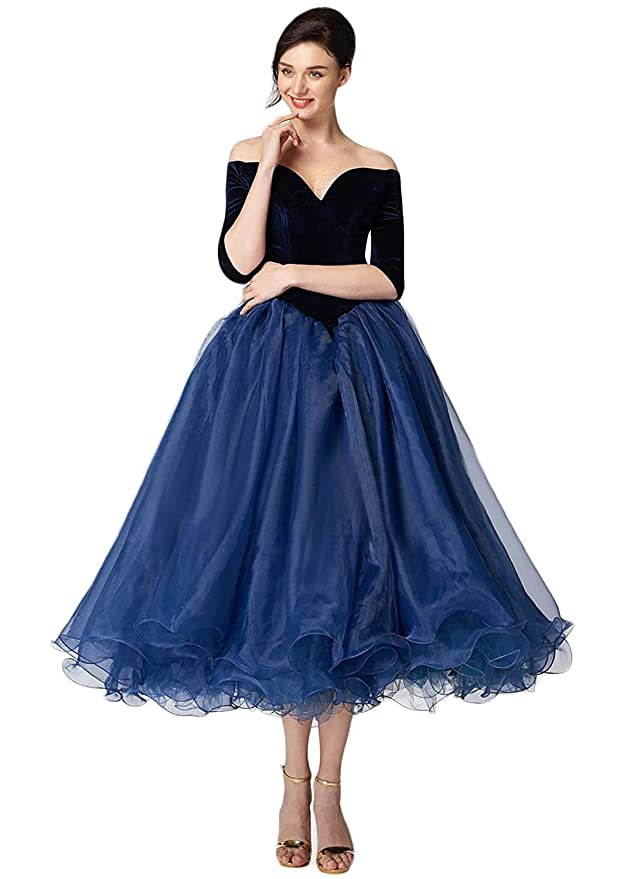 f5374305f1a Womens Sweetheart Tea Length Half Sleeve Evening Dress Off Shoulder Formal  Gowns at Amazon Women s Clothing store