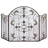 Home Rustic Ornate Scrollwork Wrought Iron Florentine Fireplace Metal Screen