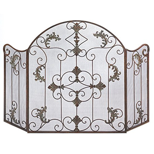 Home Rustic Ornate Scrollwork Wrought Iron Florentine Fireplace Metal Screen by Accent Plus