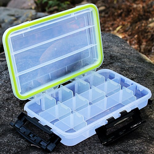 SUVERAAN Plastic Transparent Fishing Tackle Box 13 Compartments Fishing Storage Boxes 28175cm Multi-function Box by SUVERAAN