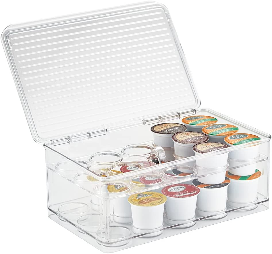 """iDesign Linus Stackable Single Serve Coffee Pod Holder with Lid - 7.25"""" x 10.75"""" x 4.25"""", Clear"""