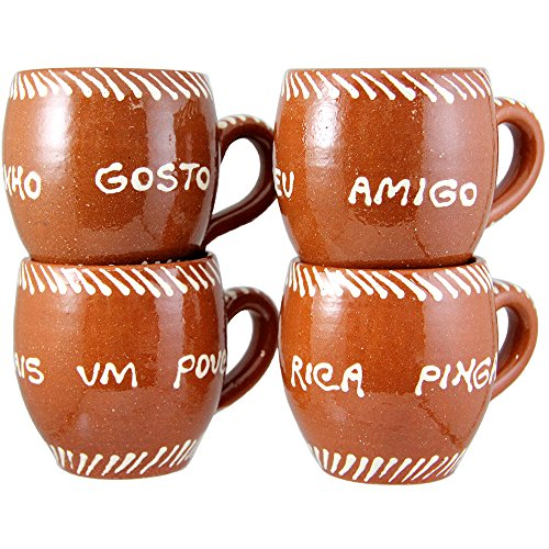 Set Of 4 Vintage Portuguese Traditional Clay Terracotta Pottery Mugs Made In Portugal ()