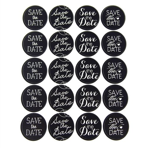 Homeford FMC000SS430D Save The Date Chalkboard Seal Stickers (40 Pack), 2