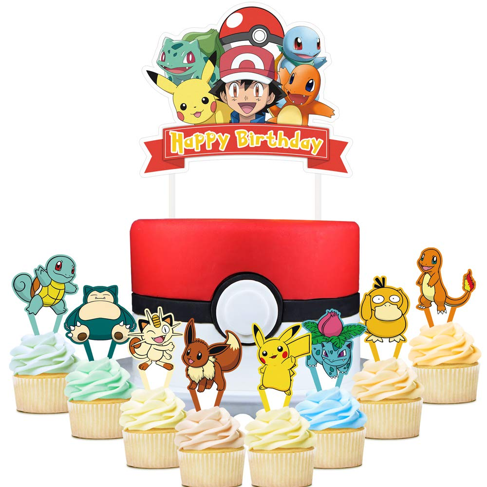 Surprising 25 Pokemon Cupcake Toppers Pikachu Cake Toppers For Kids Birthday Funny Birthday Cards Online Eattedamsfinfo
