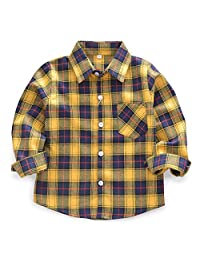 Phorecys Baby's Boys' Girls' Long Sleeve Button Down Plaid Flannel Fashionable Shirt G010 Yellow Navy Tag 90CM - 24M