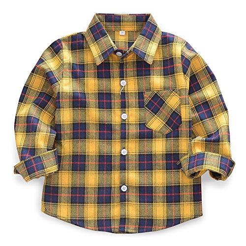 OCHENTA Little Big Boys' Long Sleeve Button Down Plaid Flannel Shirt E010...