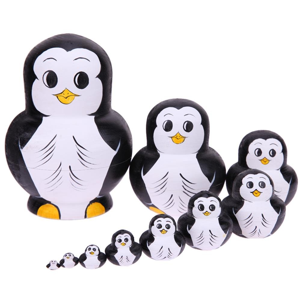 Childplaymate 10pcs/Set Russian Matryoshka Dolls Penguin Pattern Wood Nesting Toy Gift