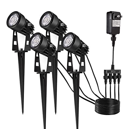 Upgrade LED Outdoor Spotlight, Greenclick 4 Pack 12V Low Voltage Landscape  Lighting Warm White IP65 Waterproof Garden Lights With UL Listed Adapter ...