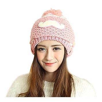 Hat - SODIAL(R)Women Lady Winter Crochet Beard Beanie Mustache Mask Face  Warm Ski Knit Hat Cap pink 296c9c12a4d