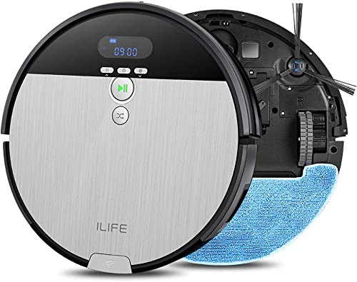 ILIFE V8s Robot Vacuum Cleaner and Mop Combo, XL 750ml Dustbin, Designed for Hard Floors Pet Hair Self-Adjustable Suction Nozzle, Tangle-Free Design, Slim Quiet, Self-Charging