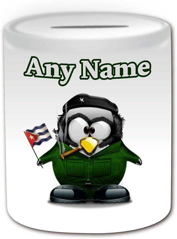 Regalo personalizado – Che Guevara caja de dinero (pingüino disfraz de historia famoso tema de diseño, color blanco) – cualquier nombre/mensaje en su único – personaje famoso persona mundo Star figura pública