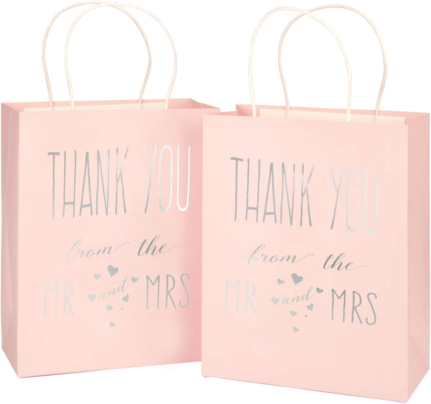 "LaRibbons Medium Size Gift Bags - Silver Foil""Mr. and Mrs. Thank You"" Pink Paper Bags with Handles for Wedding, Birthday, Baby Shower, Party Favors - 12 Pack - 8"" x 4"" x 10"""