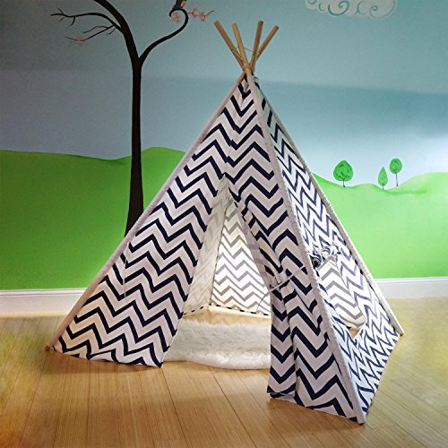 Vintage parts USA cowboy indian 1123200 play house Blue Cotton Canvas Teepee Indian Tent Indoor Kids Play House Child Playhouse