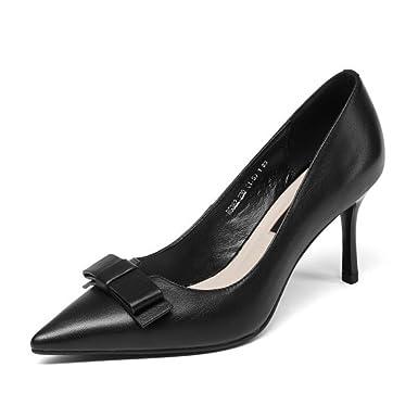 Frauen Leder Spitz High Heels Slip On Kleid Party Hochzeit Schuhe Pumps High Heel Court Schuhe (weiszlig; Schwarz)