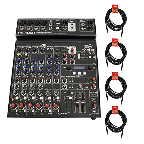 (Package: Peavey PV 10BT PV10BT Pro Audio Mixer With 4 Mic In, Bluetooth, USB, Compressor/Effects and 3 Band EQ + (4) Peavey PV 20' XLR Female to Male Low Z Mic Cables)