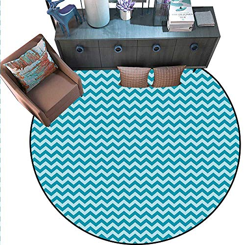 Chevron Print Area Rug Zigzags in Sea Colors Ocean Waves Nautical Theme Sailboat Design Sea Breeze Home Decor Foor Carpe (6'3