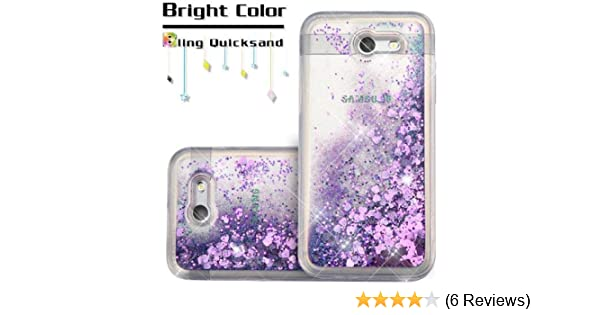 [World Acc] For Samsung Galaxy J3 Mission Case / Galaxy J3 Eclipse Case /  Galaxy J3 Luna Pro Case / Sol 2 Hybrid Quicksand Liquid Glitter TPU (Hearts