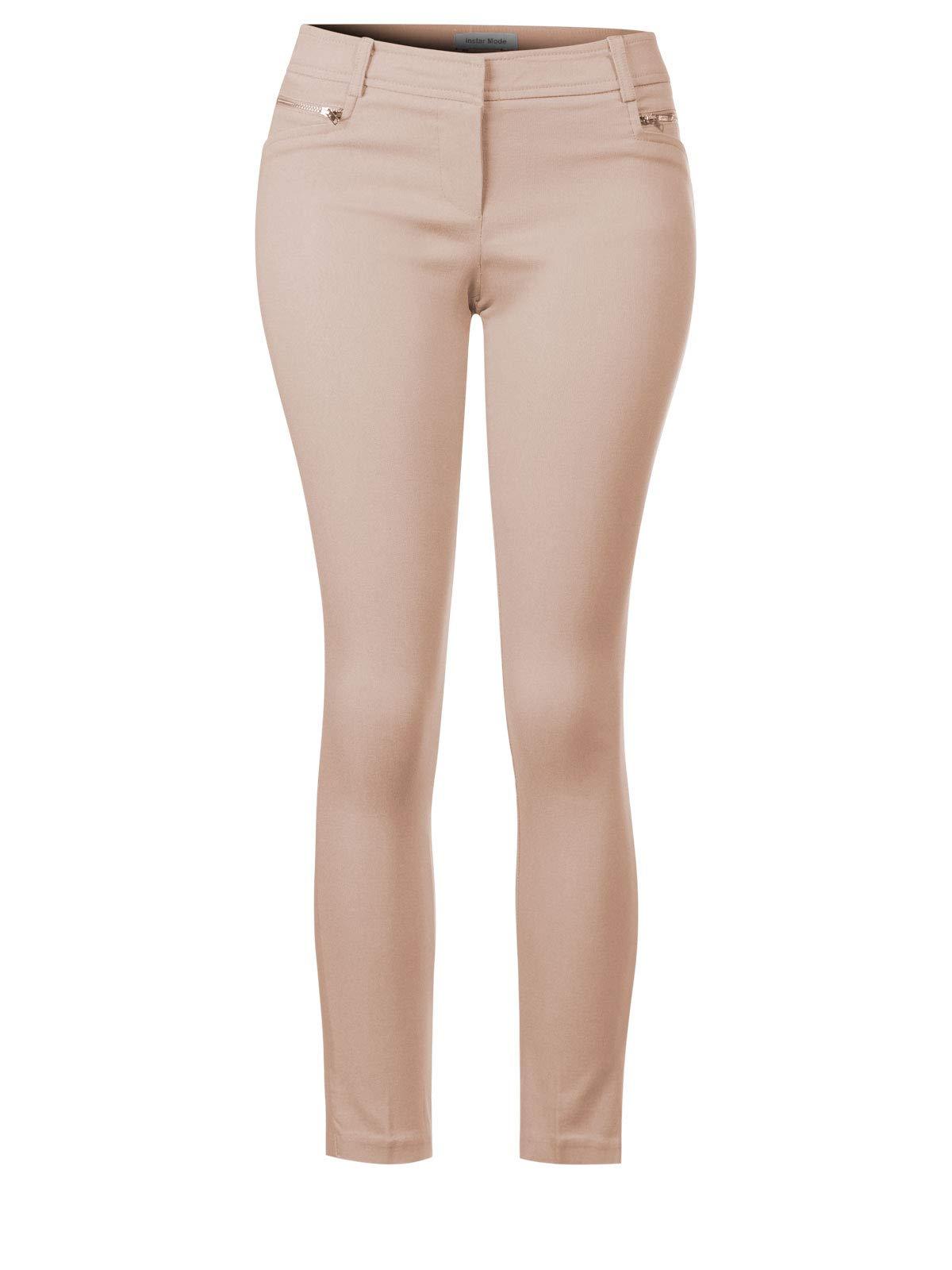 Instar Mode Women's Solid Full Length Formal Pants Khaki 2XL