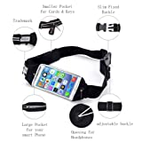 Beyle Running Belt, Fitness Fanny Pack Sports Waist Pack for Hands-Free Workout Adjustable, Water Resistant and Reflective. Easily Fits Keys, Wallet,iPhone X 6 7 8 Plus touch-screen design, Black