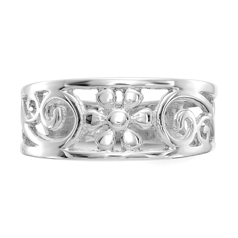 Jewels By Lux 14k White Gold Floral Toe Ring by Jewels By Lux (Image #6)