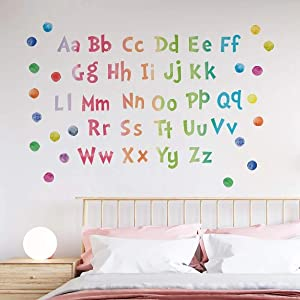 ABC Wall Decals Classroom DIY Removable Watercolor Dot Educational Alphabet Wall Stickers Kids Bedroom Nursery Playroom Art Mural Decor