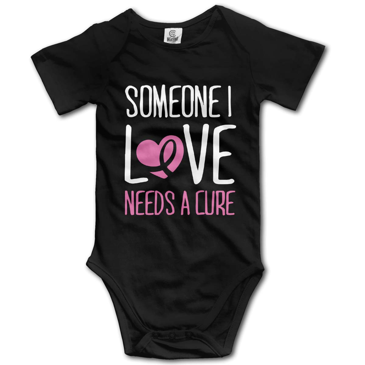 Braest Cancer Someone I Love Needs A Cure Newborn Infant Baby Short Sleeve One-Piece Coverall 0-24 Months