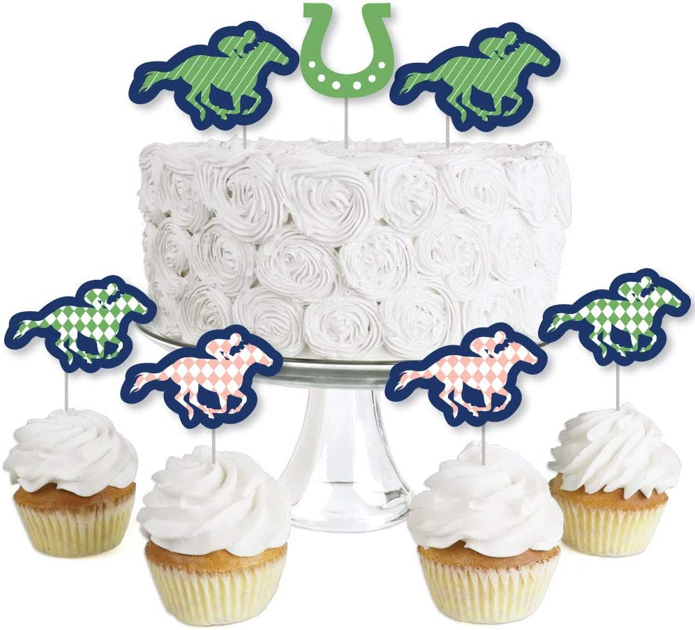 Kentucky Horse Derby - Dessert Cupcake Toppers - Horse Race Party Clear Treat Picks - Set of 24