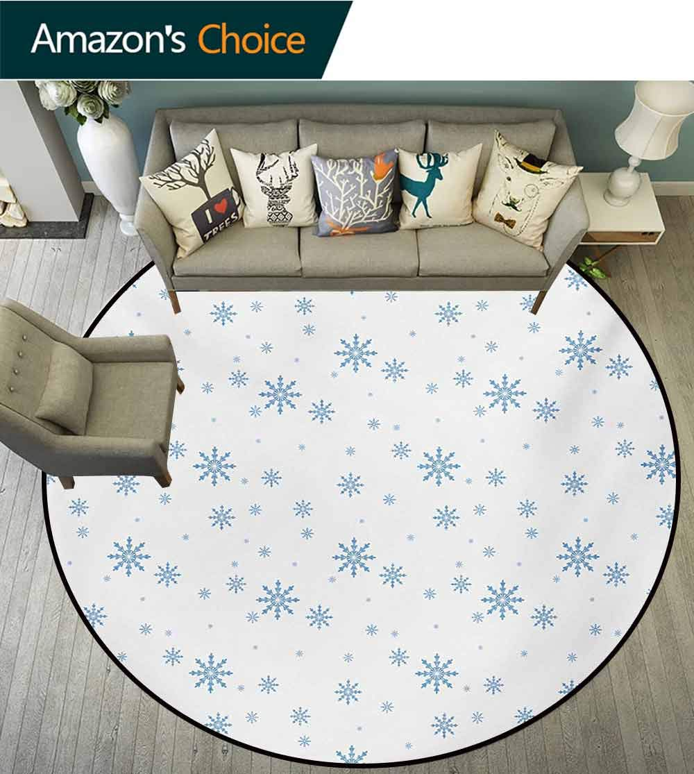 RUGSMAT Winter Non Slip Round Rugs,Cold December Design Simple Seasonal Snowy Weather Ice Frost Gentle Winter Icons Oriental Floor and Carpets,Diameter-47 Inch Blue White