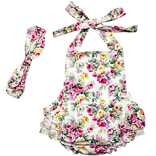 DQdq Baby Girls' Floral Print Ruffles Romper Summer Dress White Rose 6 Month