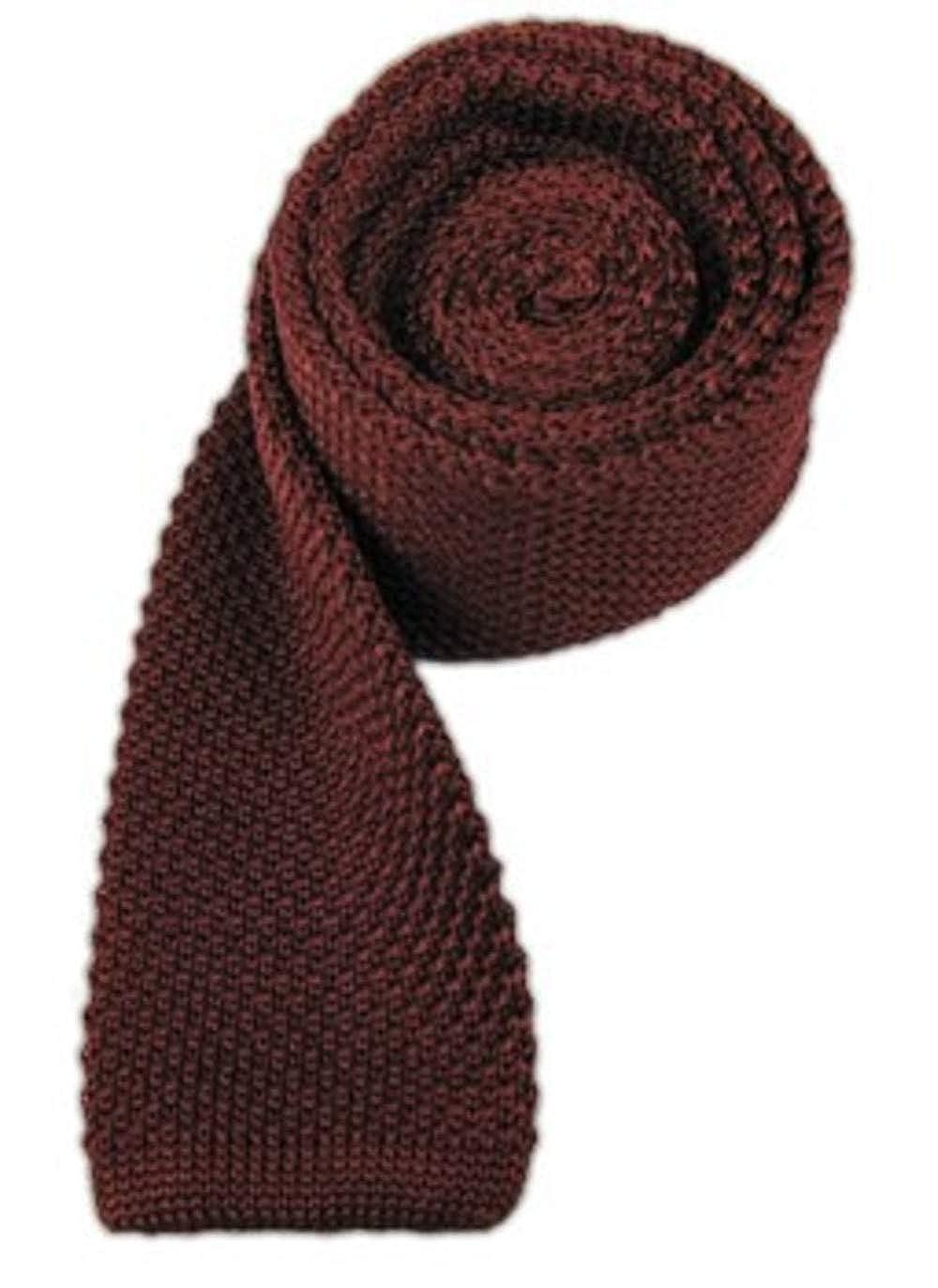 TheTieBar - Corbata de punto (100% seda), color borgoña: Amazon.es ...