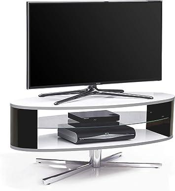 MDA Designs órbita 1100 WB Blanco Brillante Soporte para televisor con Negro Brillante elíptica Lados para televisores de Pantalla Plana de hasta 55