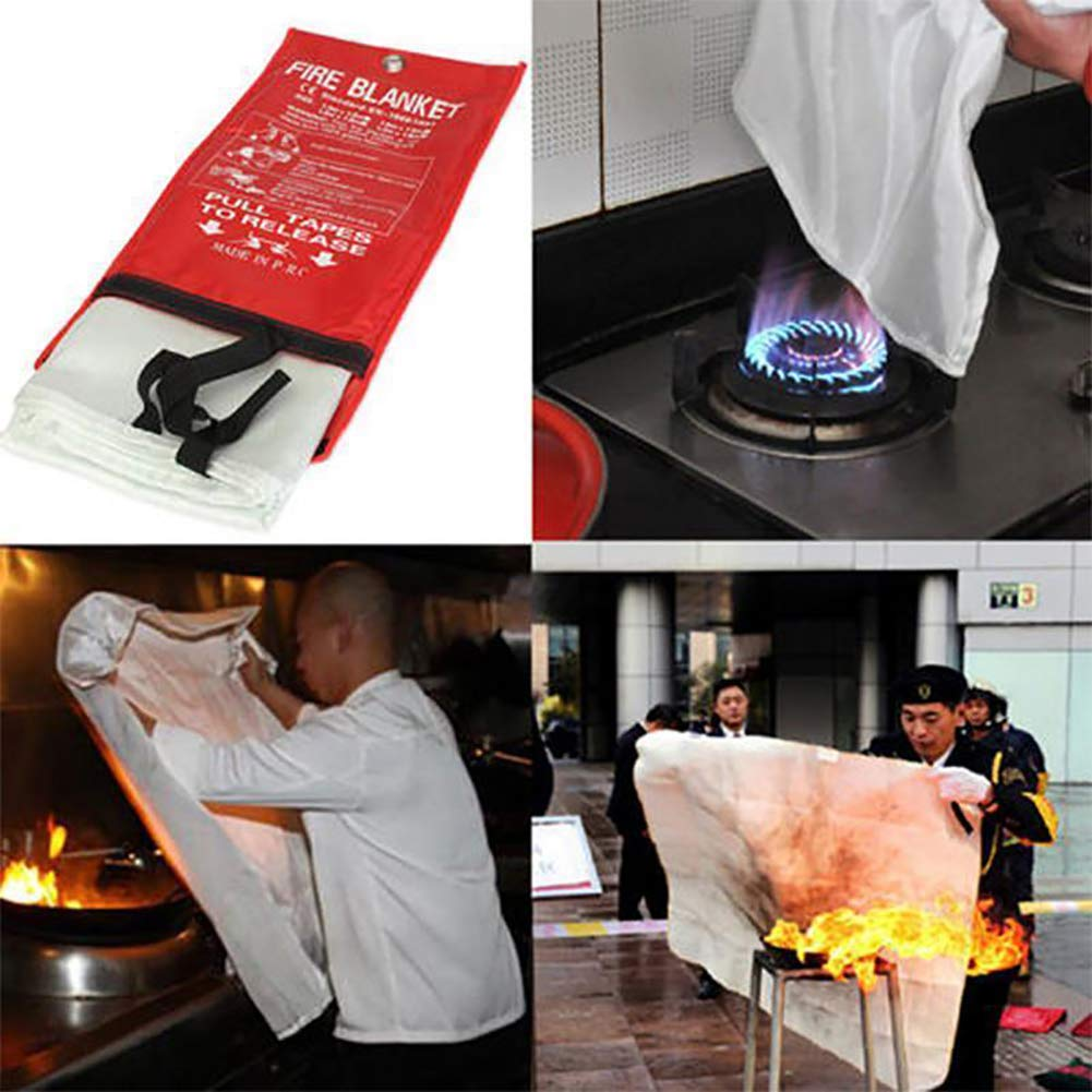 1.0X1.0M Ouken 1PC Fiberglass Fire Blanket Fire Emergency Blanket Flame Retardant Protection Emergency Surival Safety Cover For Kitchen,Fireplace,Car,Office