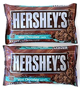 Hershey's Mint Chocolate Baking Chips, 10-Ounce Bag (Pack of 2)