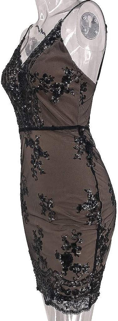 Kstare Womens Sequin Lace Camisole Backless Party Dresses Velvet Mini Short Cocktail Evening Dress