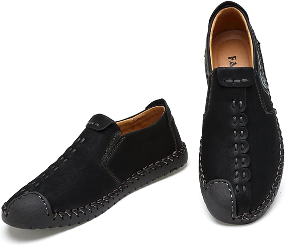 DADAZE Mens Leather Oxford Shoes Suede Casual Shoes British Style Handmade Flats Lace up Loafers