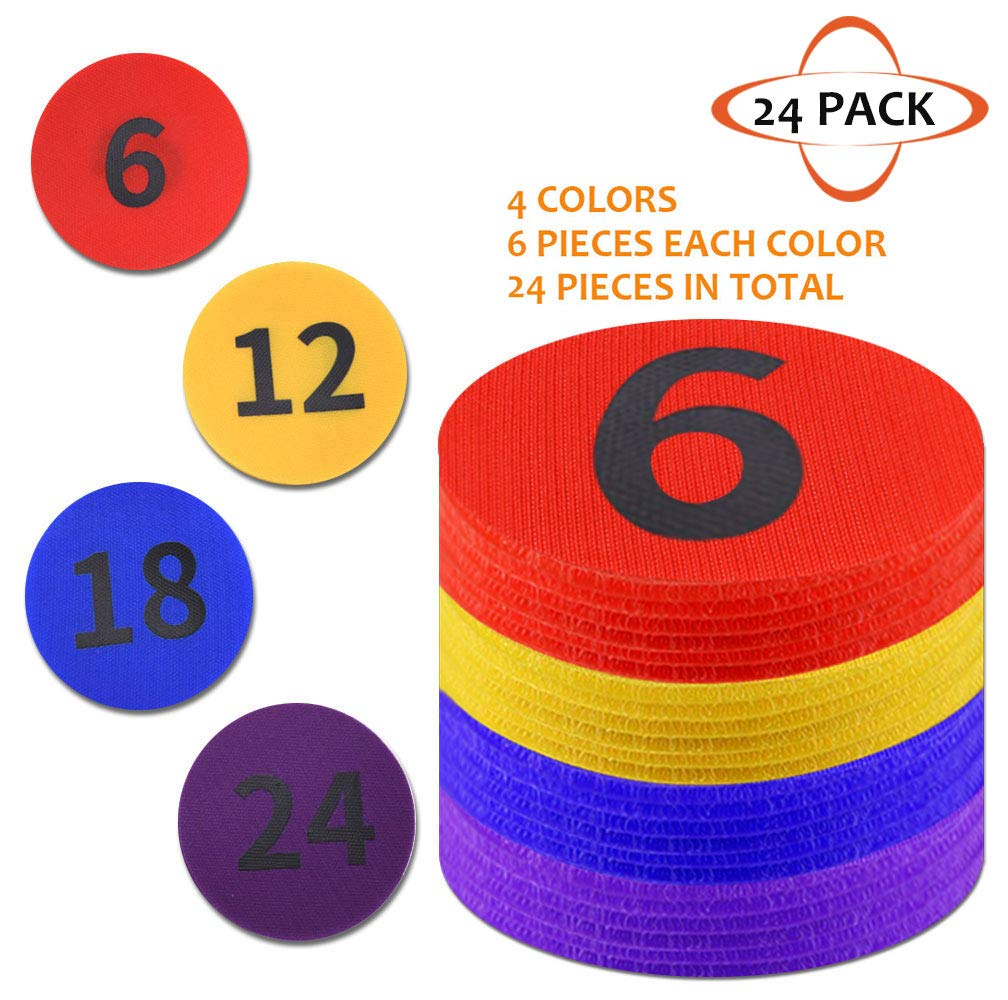KIKIGOAL 4'' Diameter Carpet Spot Sit Markers x 24 Classroom Circles with Numbers 1~24 for Teachers (4 Colors) by KIKIGOAL