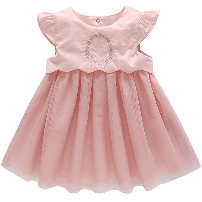 JiAym Bebé Niñas Vestido de Tutú Princesas Rosa Vestido de Manga Corta Traje de Fiesta Boda
