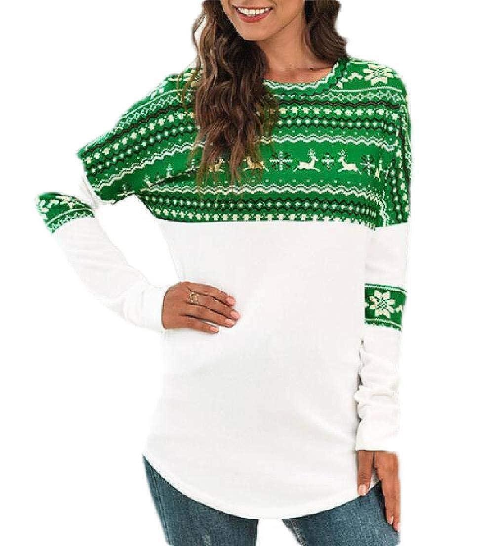 KLJR Women Tunic Long Sleeve Christmas Print Round Neck Tops Blouse T-Shirt