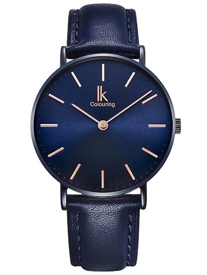 Alienwork Navy Blue Reloj Unisex Relojes Hombre Mujer Piel de Vaca Azul Analógicos Cuarzo Impermeable Ultra-Delgada Clásico: Amazon.es: Relojes