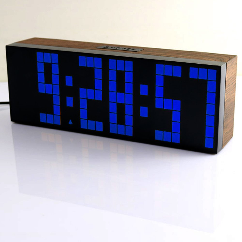 EC VISION Large Big Number Jumbo LED snooze wall desk Alarm clock count down timer with calendar (Wood grain cover blue)