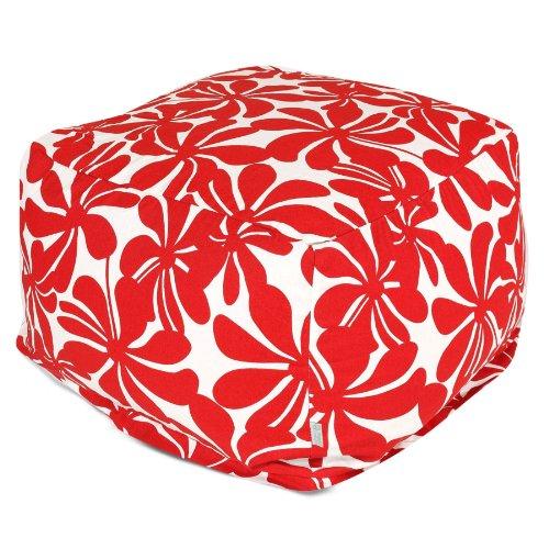 Majestic Home Red Plantation Ottoman, Large