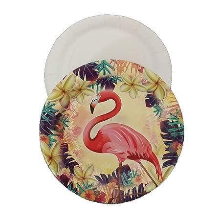 Weiqiao® - Plato desechable de Papel con diseño de Flamenco ...