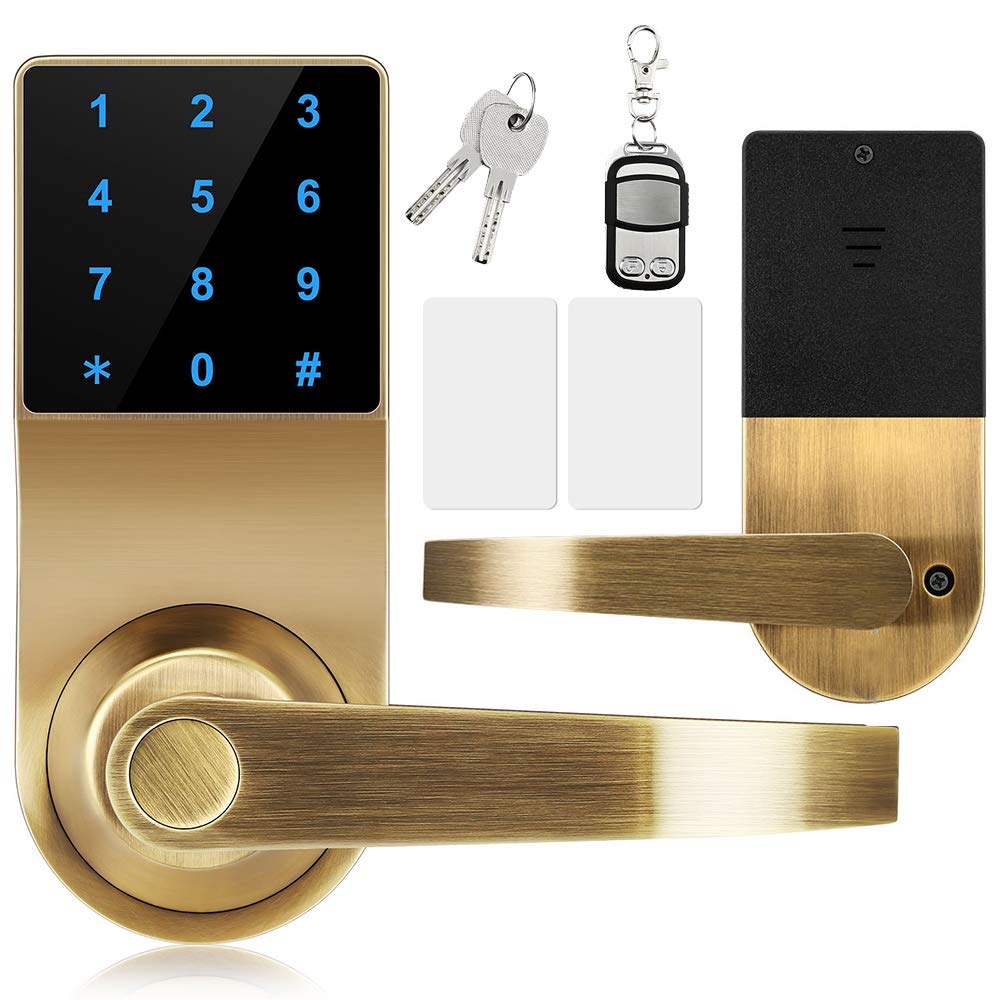 Lock,Xinda Door Lock with Touchscreen Keyless,Door Control Keyless with Adjustable Hand.Password Lever Door Lock,Remote Control + Password + Card + Metal Key,Perfect for Office & Home Gold