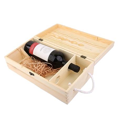 Caja Portadora Doble Madera para Vino Botella Decoración Regalo: Amazon.es: Hogar