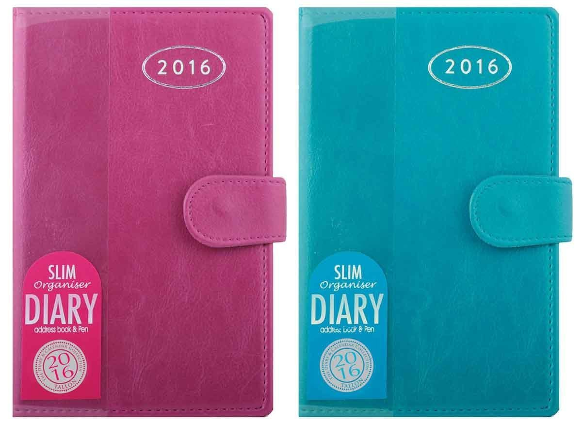 (Tallon 2082)-1x 2018 Slim Personal Organiser Diary With Address Book - Pink or Blue Colour at Random