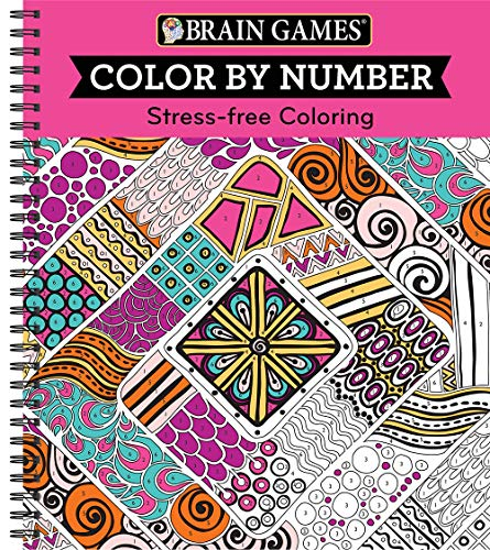 Brain Games - Color by Number: Stress-Free Coloring (Pink) (Paint With The Colors Of The Wind)